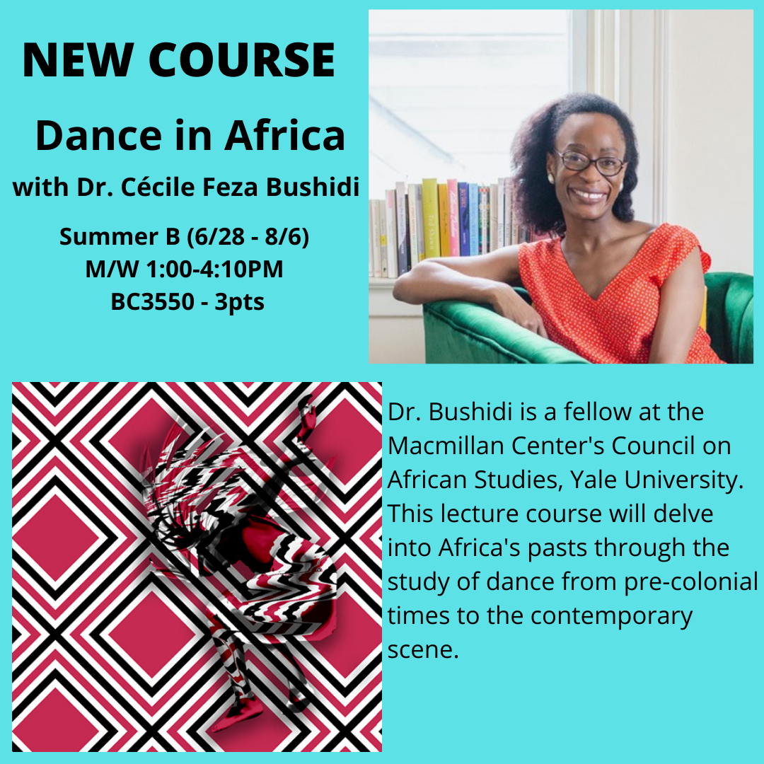 Poster for New Dance Course- Dance in Africa Summer B